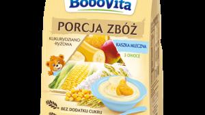 BoboVita, Porcja Zbóż Kaszka mleczna kukurydziano-ryżowa 3 owoce Skład: mleko modyfikowane 50,7%, odmineralizowana serwatka w proszku (z mleka) odtłuszczone mleko w proszku, tłuszcz roślinny (palmowy, rzepakowy, kokosowy, słonecznikowy) - zawiera lecytynę sojową, węglan wapnia, witaminy (C, niacyna, kwas pantotenowy, E, B1, B6, A, kwas foliowy, K, D, biotyna, B12), dwufosforan żelazowy, siarczan cynku, siarczan miedzi, jodek potasu], mąki ze zbóż 27% (kukurydziana 16,2%, ryżowa 10,8%), płatki bananowe 8%, proszek jabłkowy 6%, proszek pomarańczowy 1,4%, odtłuszczone mleko w proszku, maltodekstryna, odmineralizowana serwatka w proszku (z mleka)