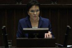 Premier Ewa Kopacz podczas wygłaszania swojego expose w Sejmie