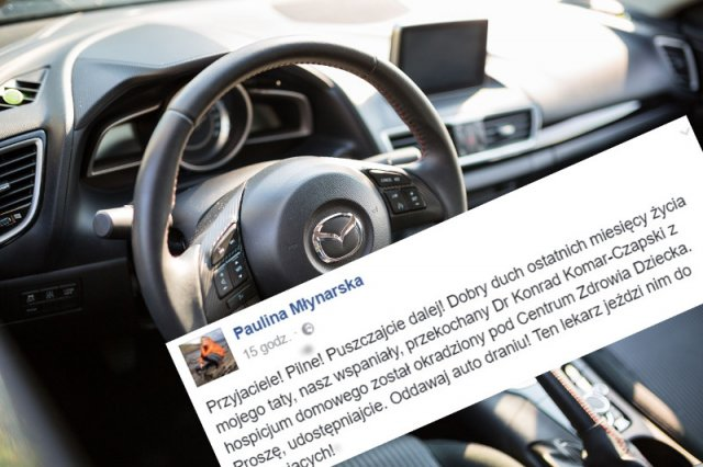 Paulina Młynarska apeluje, by ludzie pomogli znaleźć ukradzione auto należące do lekarza z hospicjum domowego.
